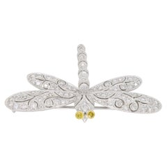 18 Karat White Gold Diamond Dragonfly Brooch