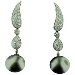 18 Karat White Gold Diamond Drop Earrings with Black Tahitian Pearls