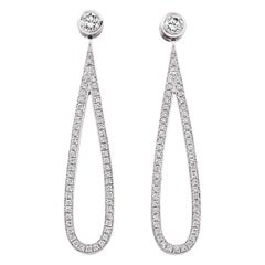 18 Karat White Gold Diamond Drop Loop Earrings