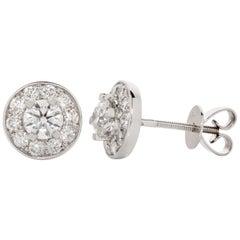 18 Karat White Gold Diamond Ear Studs