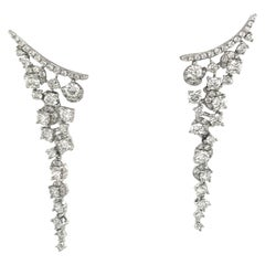 18 Karat White Gold Diamond Earring Climber Drops 1.75 Carat