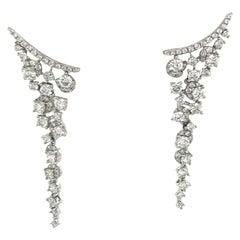 18 Karat White Gold Diamond Earring Climber Drops 1.75 Carat