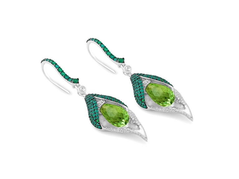 Round Cut 18 Karat White Gold Diamond Emerald and Peridot Earrings For Sale