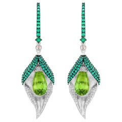 18 Karat White Gold Diamond Emerald and Peridot Earrings