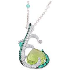 18 Karat White Gold Diamond Emerald and Peridot Pendant