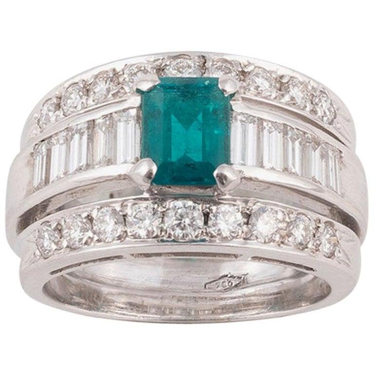18 Karat White Gold Diamond Emerald Band Ring For Sale