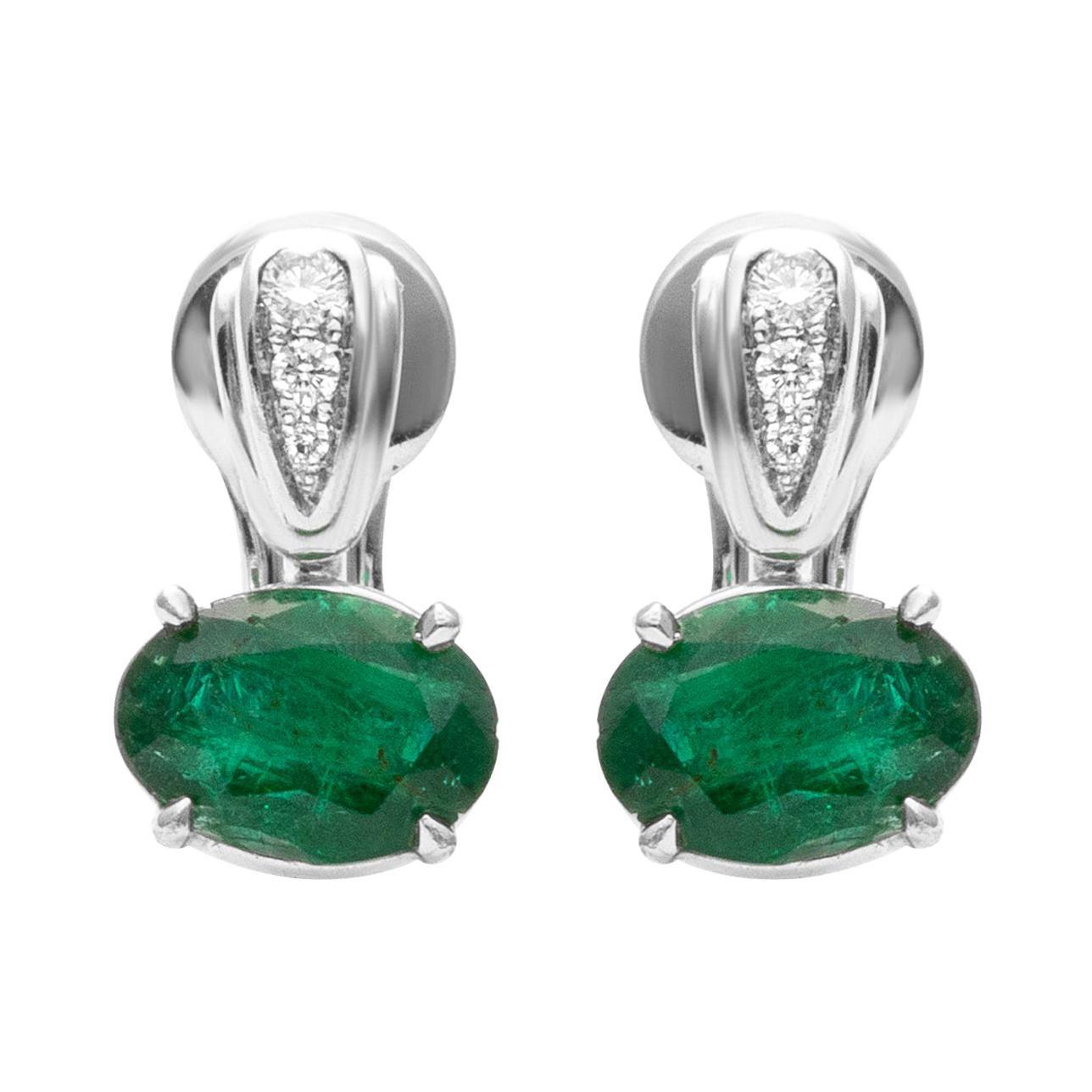 18 Karat White Gold Diamond & Emerald Cocktail Dangle Earrings
