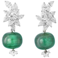 18 Karat White Gold, Diamond and Emerald Melon Earrings