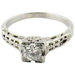 18 Karat White Gold Diamond Engagement Band