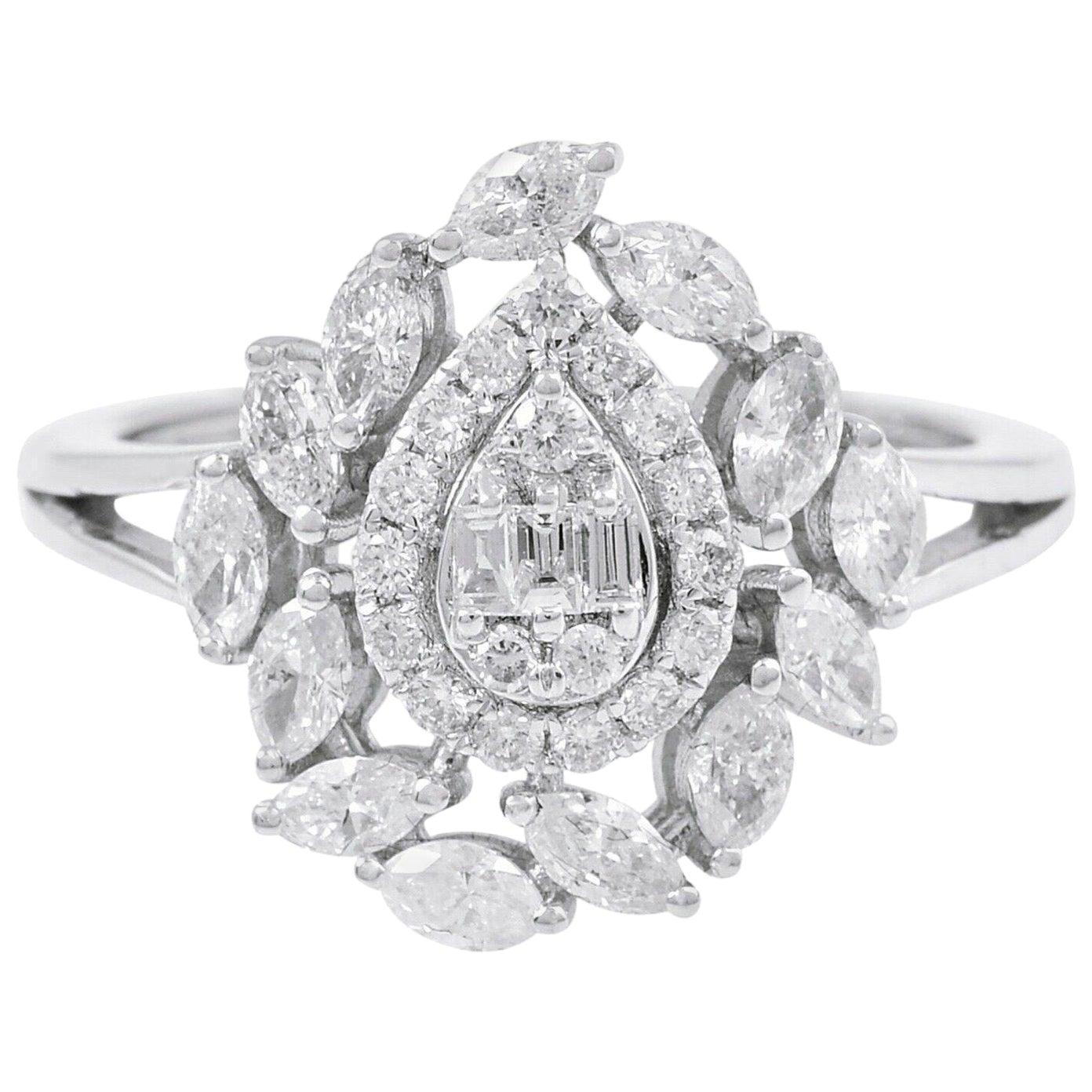 18 Karat White Gold Diamond Engagement Ring