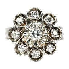 0.80 Carat Diamond Floral Cluster Dome Ring 1960s 18 Karat White Gold
