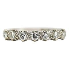 18 Karat White Gold Diamond Est. 1.00 Carat Half Eternity Ring