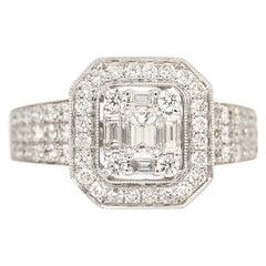 1.32 Carat Diamond 18 Karat White Gold Modern Engagement Ring
