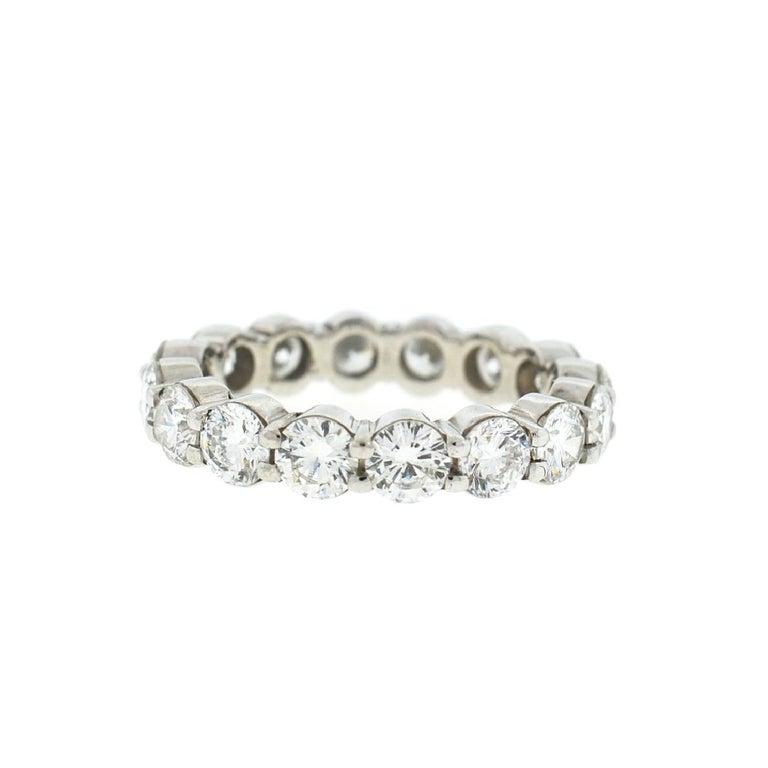 Round Cut 18 Karat White Gold Diamond Eternity Band Ring 3.75 Carat For Sale