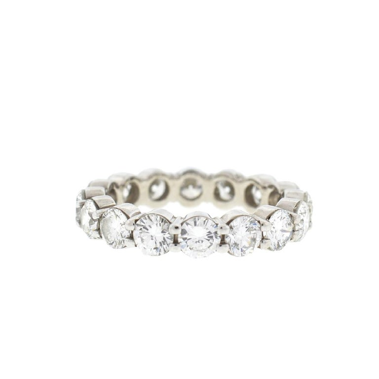 18 Karat White Gold Diamond Eternity Band Ring 3.75 Carat In Excellent Condition For Sale In Boca Raton, FL