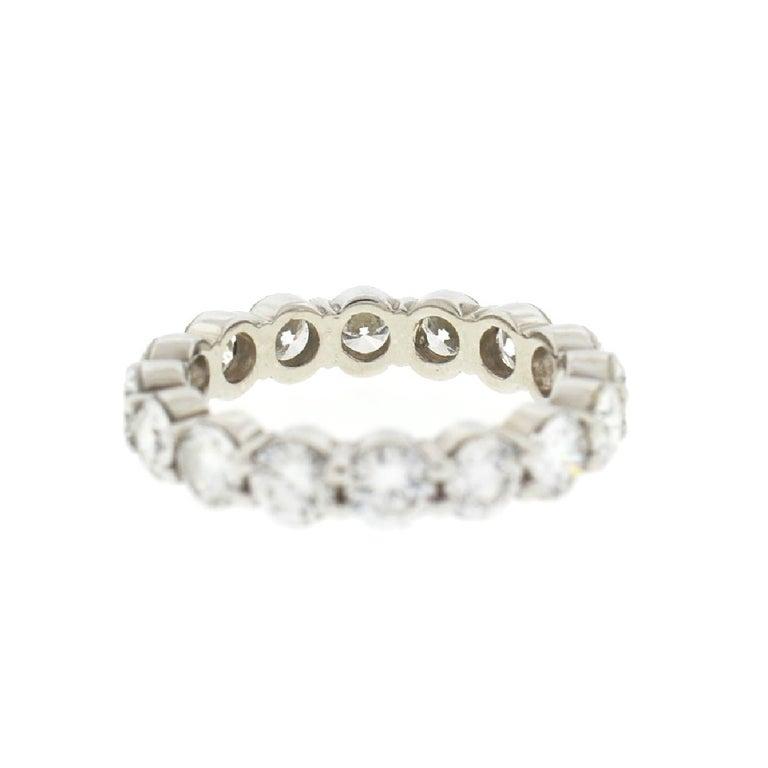 Women's 18 Karat White Gold Diamond Eternity Band Ring 3.75 Carat For Sale
