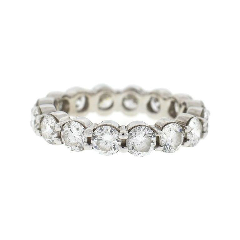 18 Karat White Gold Diamond Eternity Band Ring 3.75 Carat For Sale