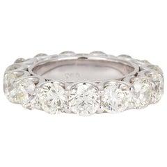 18 Karat White Gold Diamond Eternity Wedding Band 6.00 Carat