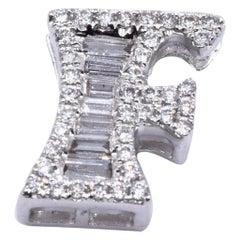18 Karat White Gold Diamond F Pendant