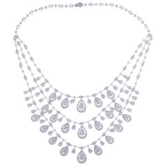 18 Karat White Gold Diamond Fancy Triple-Strand Pear Marquise Necklace