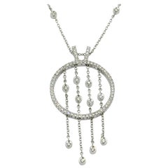 18 Karat White Gold Diamond Fantasy Round Pendant with Dangling Chains