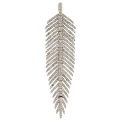 18 Karat White Gold Diamond Feather Pendant Necklace