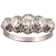 18 Karat White Gold Diamond Five-Stone Ring