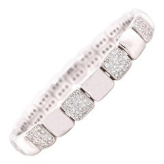 18 Karat White Gold Diamond Flexible Cuff Bracelet