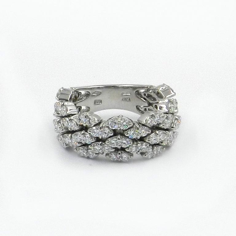 18KT White Gold DIAMOND FLEXIBLE GARAVELLI RING  CHAIN GARAVELLI COLLECTION   GOLD gr : 10,70 WHITE DIAMONDS ct : 2,66