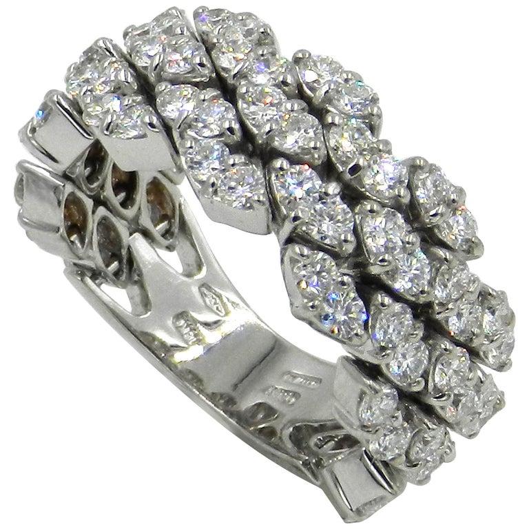 18 Karat White Gold Diamond Flexible Garavelli Ring For Sale