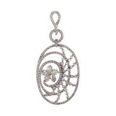 18 Karat White Gold Diamond Flower Openwork Pendant CPD8781