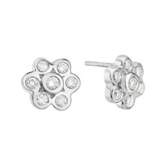 18 Karat White Gold Diamond Flower Stud Earrings