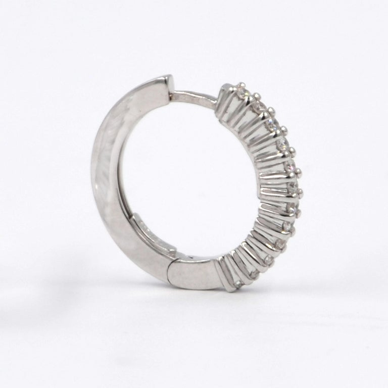 Contemporary 18 Karat White Gold Diamond Garavelli Huggie Earrings