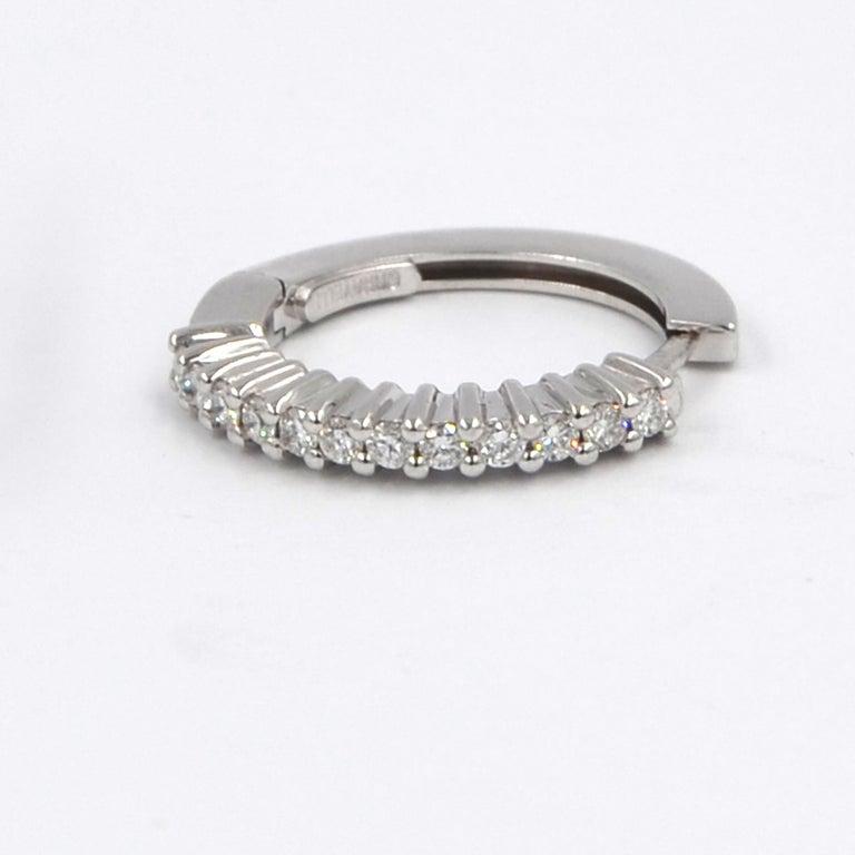 Women's 18 Karat White Gold Diamond Garavelli Huggie Earrings