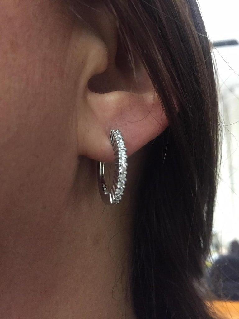 18 Karat White Gold Diamond Garavelli Huggie Earrings 2