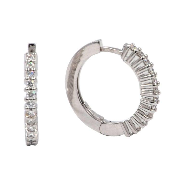 18 Karat White Gold Diamond Garavelli Huggie Earrings