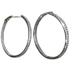 18 Karat White Gold Diamond Garavelli Round Hoop Earrings