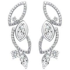 18 Karat White Gold Diamond Garden Earrings