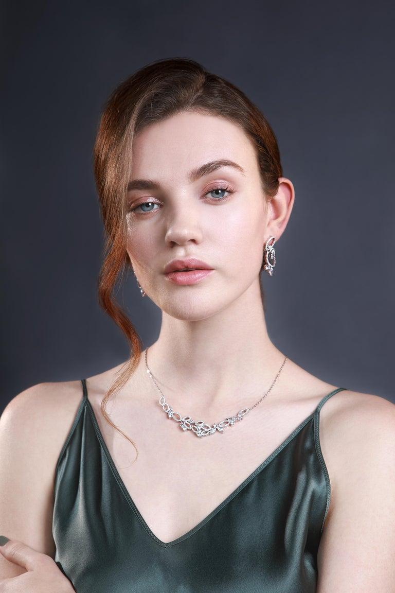 Marquise Cut 18 Karat White Gold Diamond Garden Necklace For Sale
