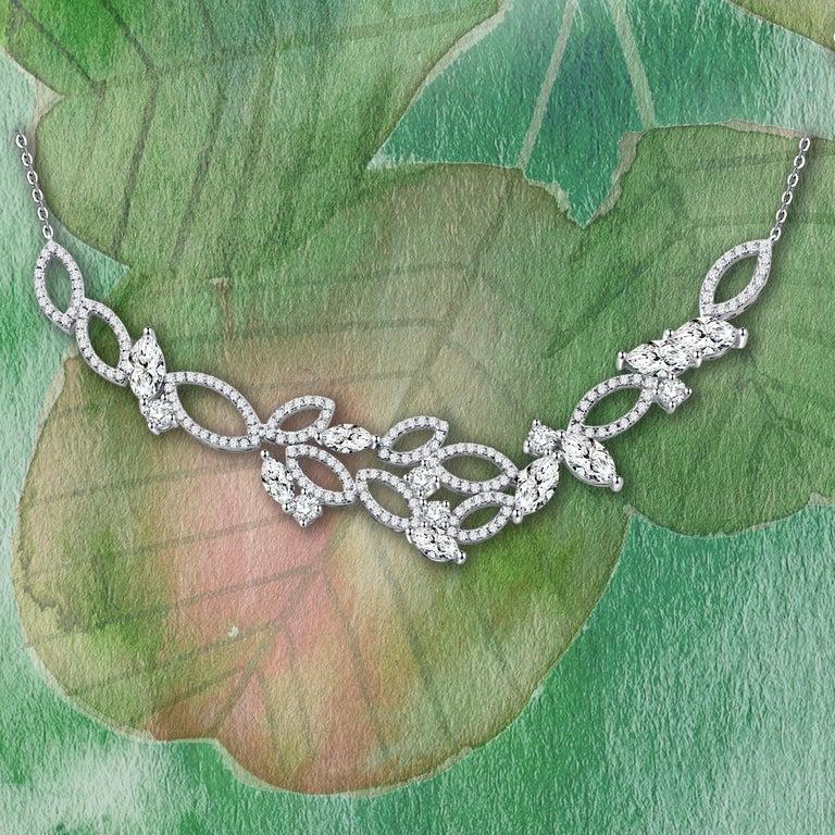 Women's or Men's 18 Karat White Gold Diamond Garden Necklace For Sale