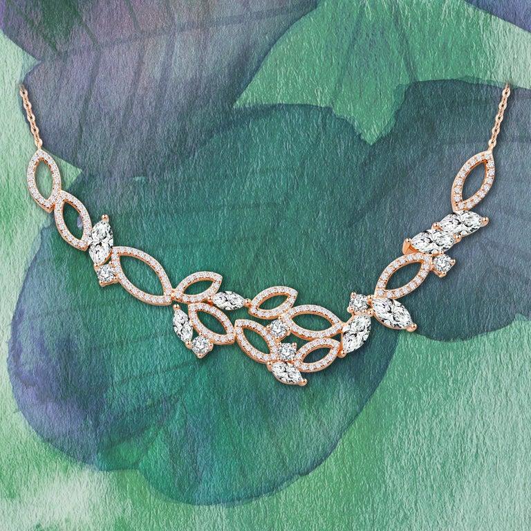 18 Karat White Gold Diamond Garden Necklace For Sale 1