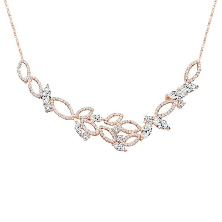 18 Karat White Gold Diamond Garden Necklace For Sale 2
