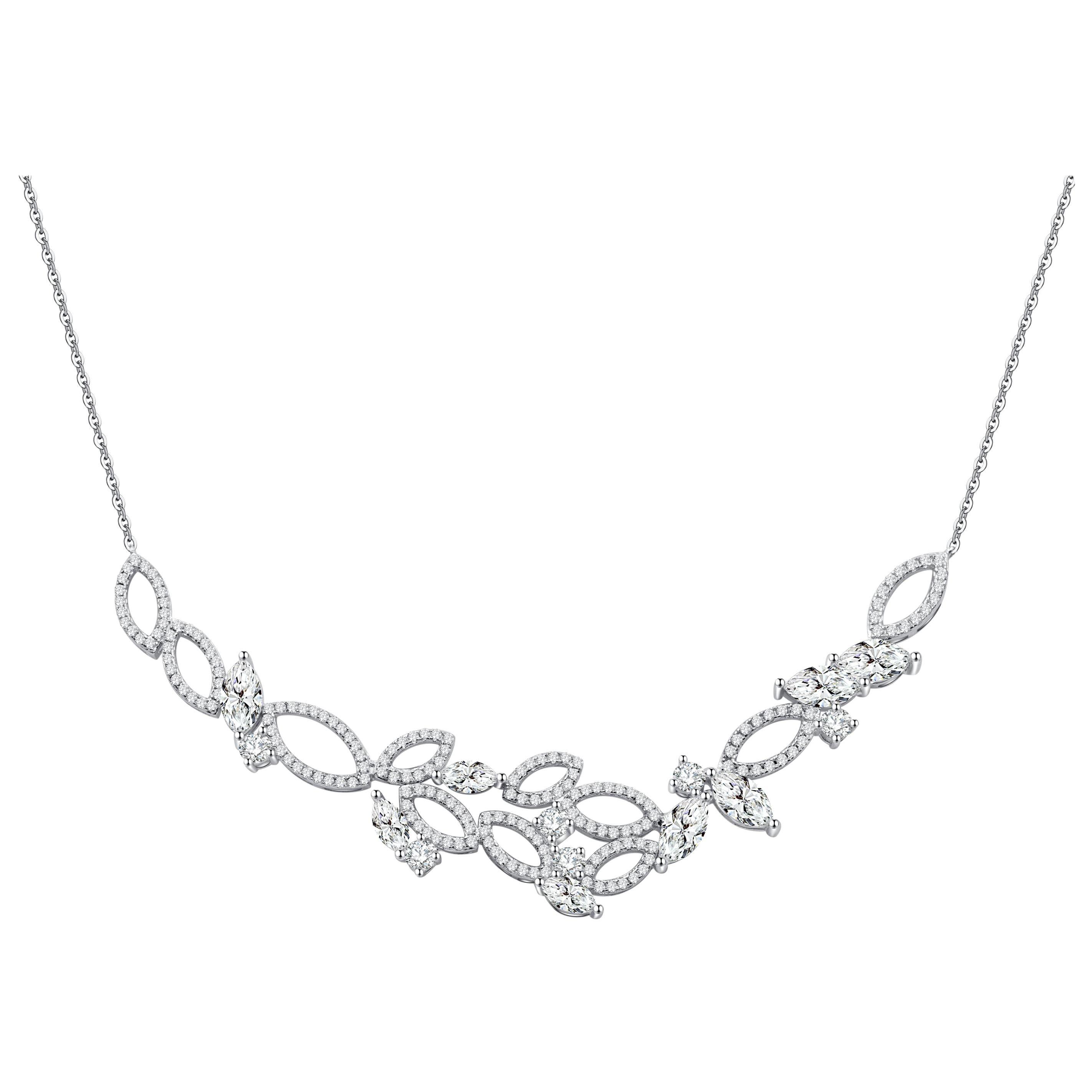 18 Karat White Gold Diamond Garden Necklace