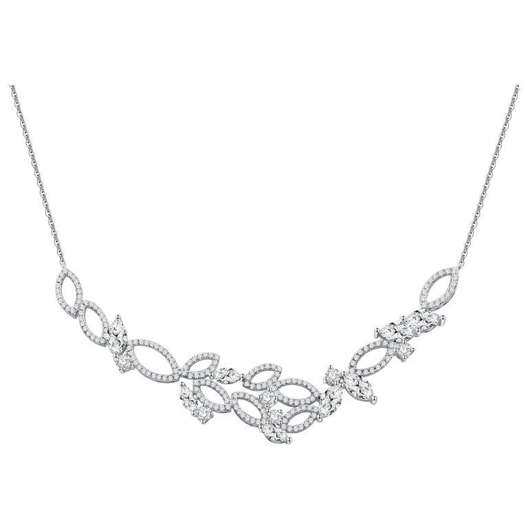 18 Karat White Gold Diamond Garden Necklace For Sale