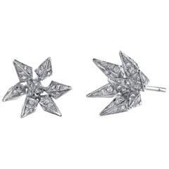 18 Karat White Gold Diamond Geometric Hedgehog Studs