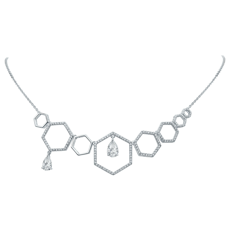 18 Karat White Gold Diamond Grand Halo Necklace