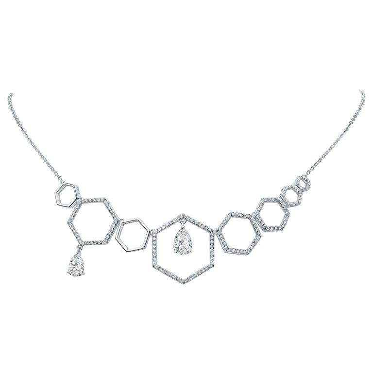18 Karat White Gold Diamond Grand Halo Necklace For Sale