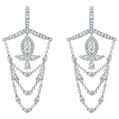 18 Karat White Gold Diamond Grand Leaf Earrings