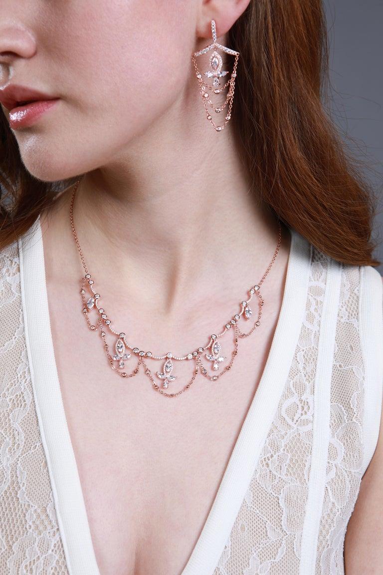 Contemporary 18 Karat White Gold Diamond Grand Leaf Necklace For Sale