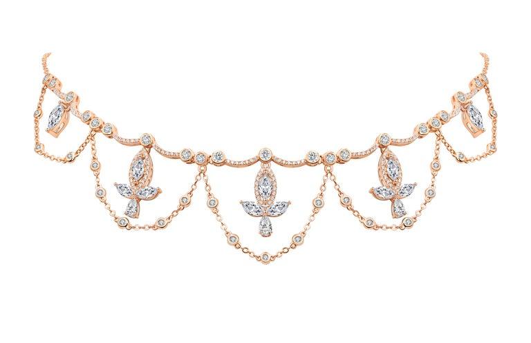 Women's or Men's 18 Karat White Gold Diamond Grand Leaf Necklace For Sale